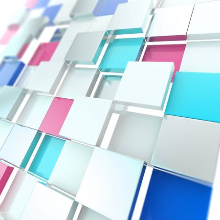 Futuristic copyspace background made of blue chaotic cubic plates Stock Photo - 15090664
