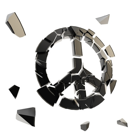 Peace symbol collapse as icon broken into tiny black plastic glossy pieces isolated on white photo