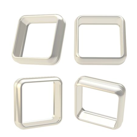 boarders: Abstract application frame copyspace square boarders made of chrome silver metal, set of four isolated on white