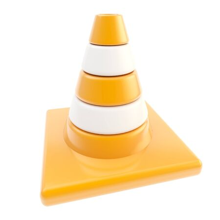 Glossy road cone colored orange and white isolated photo