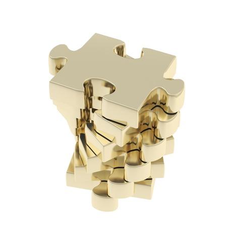 白で隔離される黄金パズル ジグソー光沢のある一個のスタック