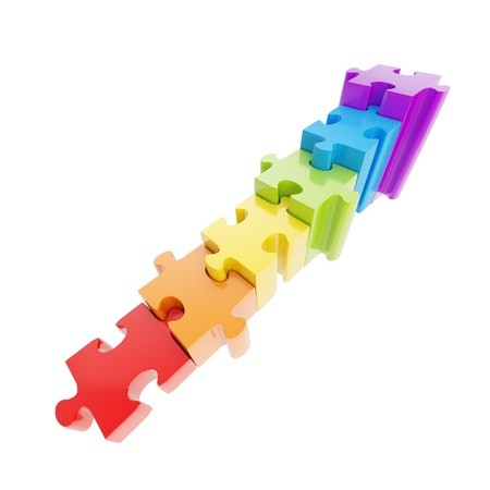 Staircase made of glossy rainbow colored puzzle jigsaw pieces isolated on white Imagens - 15090162