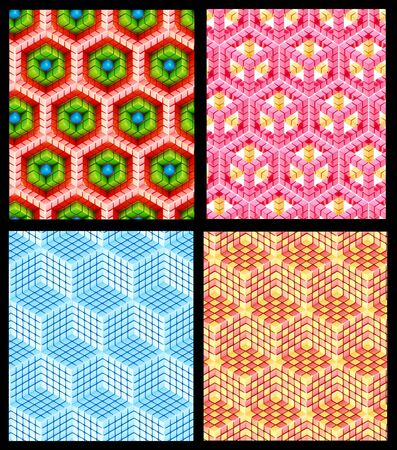 Seamless hexagon cube background texture abstract backdrop, set of four photo