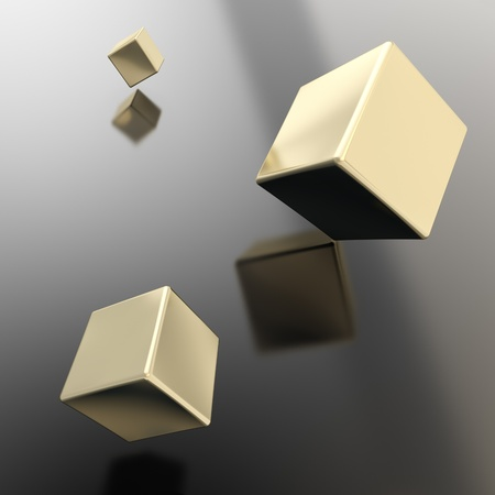Abstract copyspace background made of three golden cubes above the black surface photo