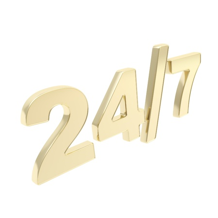 24 7 twenty four hour seven days a week glossy golden emblem icon isolated on white background photo