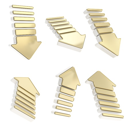 edging: Group of golden metal arrows in six foreshortenings and milky plastic edging isolated on white background