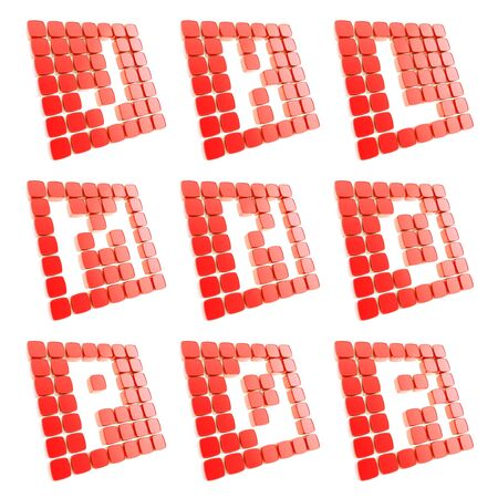 l plate: Abc alphabet letter symbol plates made of red glossy plastic cubes isolated on white