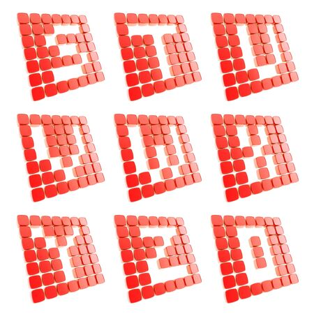Abc alphabet letter symbol plates made of red glossy plastic cubes isolated on white