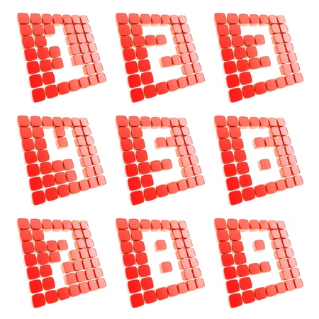 Number symbol plates made of red glossy plastic cubes isolated on white Stock Photo - 15090930