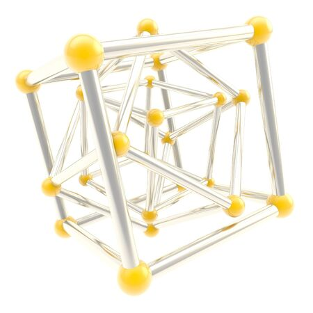 metal composition: Cube carcass yellow plastic and chrome metal framework composition isolated on white as scientific abstract background