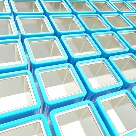 Colorful blue and metal chrome glossy cube cell composition as abstract background Stock Photo - 15090910
