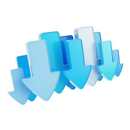 torrent: Cloud technology emblem icon tag made of blue glossy arrows isolated on white Stock Photo