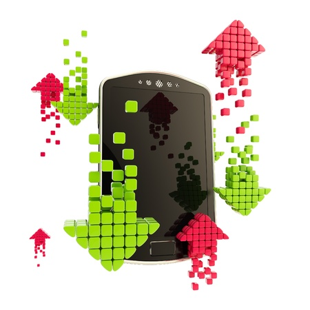 torrent: Mobile upload and download concept as phone illustration with red and green arrow icons isolated on white