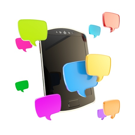 mobile sms: Texting  mobile phone concept surrounded with sms text cloud bubble icons illustration isolated on white