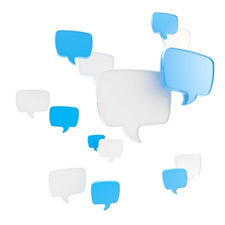 Communication emblem text speech bubble icon group isolated on white photo