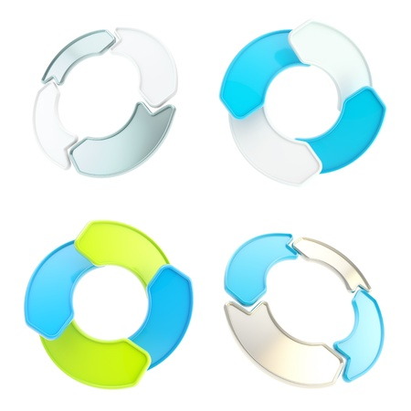 Four blue glossy arrow copyspace emblem circular round tag isolated on white, set of four Stock Photo - 15090600