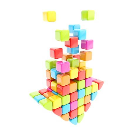segmented: Segmented rainbow colored cube glossy colorful arrow isolated on white
