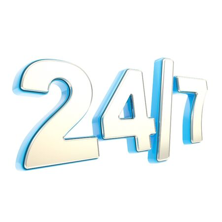 24 7 twenty four hour seven days a week glossy chrome silver metal and blue plastic emblem icon isolated on white background photo