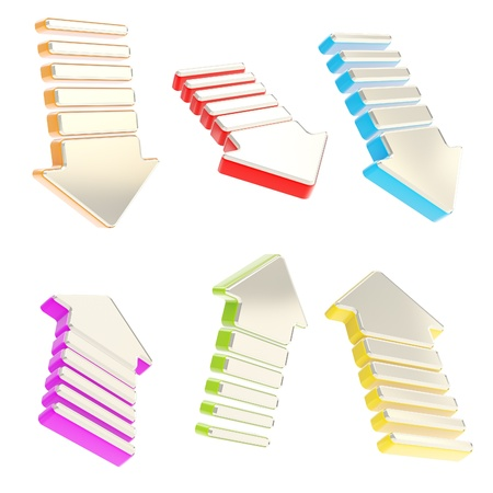Group of chrome metal arrows in six foreshortenings and colorful edging isolated on white background Stock Photo - 15090595