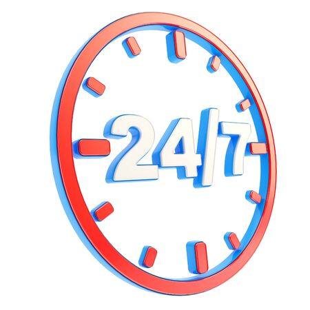 24: 24 7 twenty four hour seven days a week glossy red and blue plastic round emblem icon isolated on white background