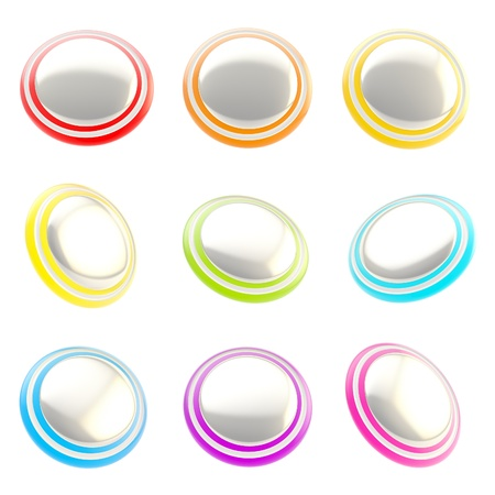 Chrome and rainbow colored glossy plastic round buttons, set of nine isolated on white Stock Photo - 15090611