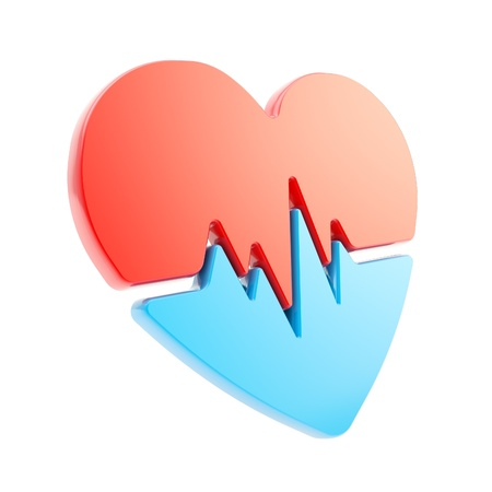 heart attack: Heart issues and health care glossy red and blue emblem icon with the pulse beat path isolated on white