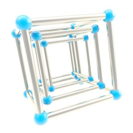 Cube carcass framework composition made of chrome metal and blue plastic one inside another as abstract scientific background Stock Photo - 15090667