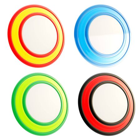 Set of four circular round copyspace colorful glossy emblem icons isolated on white photo