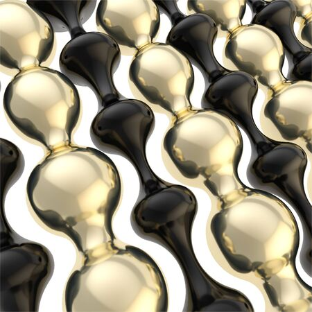 Black plastic and golden abstract wavy shapes as backdrop background photo