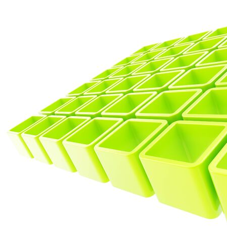 salat: Abstract copyspace background made of green glossy cube cell composition Stock Photo