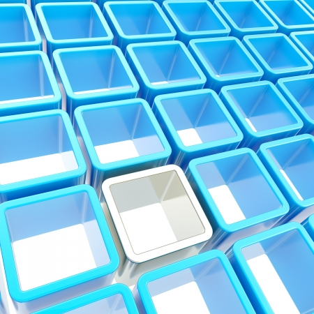 Abstract copyspace background made of blue and chrome metal glossy cube cell composition Stock Photo - 15090901