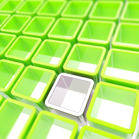 Colorful glossy green and chrome metal cube cell copyspace composition as abstract background Stock Photo - 15090763