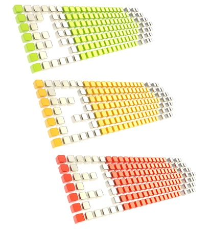 oblong: Numbered one, two, three copyspace arrow banner tags made of glossy green, yellow, red cubes isolated on white