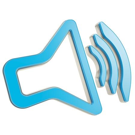 Stylized dynamic speaker as sound volume icon glossy blue emblem isolated on white Stock Photo - 15090605