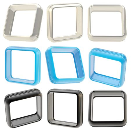 boarders: Abstract application frame copyspace square boarders isolated on white, set of blue, chrome and black, three each