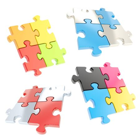 Set of four linked jigsaw puzzle pieces isolated on white photo