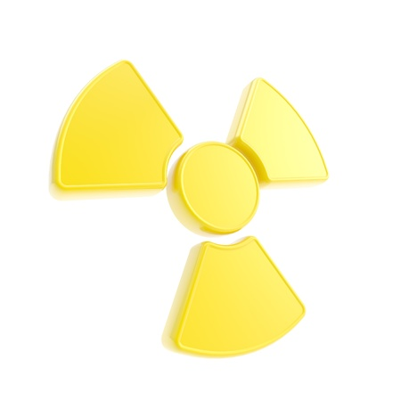 Nuclead radiation yellow glossy sign isolated on white photo