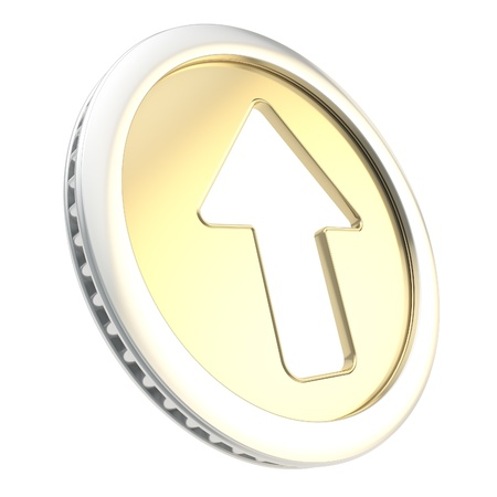 token: Up arrow illustration icon emblem as shiny glossy golden coin token isolated on white background Stock Photo