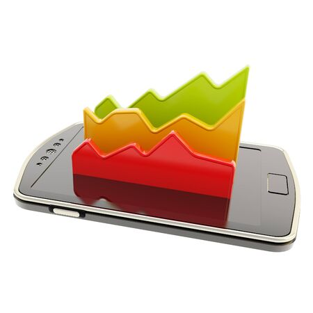 Mobile report statistics analysis conception as statistical data indicators over smart phone screen surface isolated on white photo