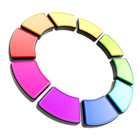 Round circle frame isolated on white background made of ten rainbow colored glossy segments with black edging Stock Photo - 15100676