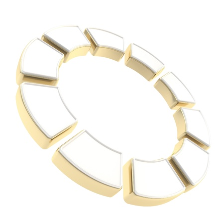 Round circle frame isolated on white background made of ten glossy white and golden segments Stock Photo - 15100562