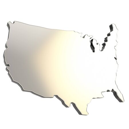 USA country shaped copyspace dimensional chrome metal plate with black edging isolated on white background Stock Photo - 15100588