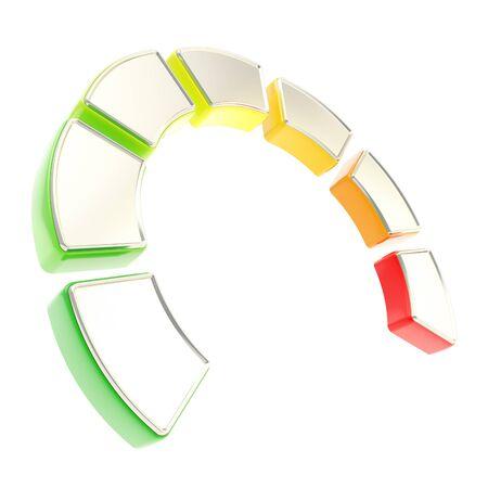 eficiencia energetica: Siete niveles de energ�a como effieciency curva dimensional indicador segmentado aislado sobre fondo blanco Foto de archivo