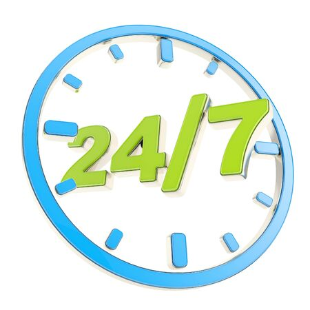 24 7 twenty four hour seven days a week glossy green amd blue round emblem icon isolated on white background photo