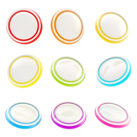 Glossy rainbow colored plastic round buttons, set of nine isolated on white Stock Photo - 15100716