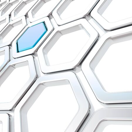 Glossy hexagon segments made of chrome metal and blue plastic element as abstract copyspace background photo