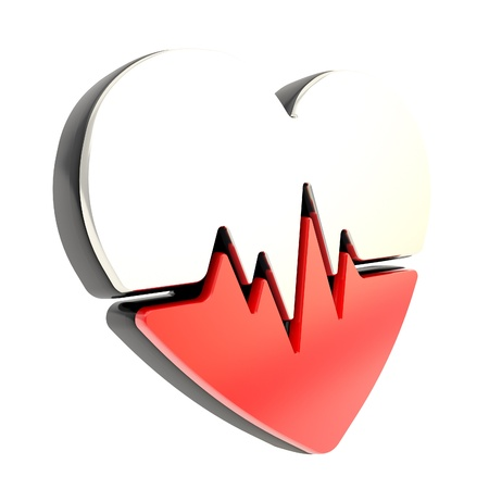 Heart pulse beat and health issues glossy red and black colored emblem icon isolated on white photo