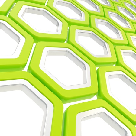 contrasts: Glossy hexagon segments made of green and chrome metal elements as abstract copyspace background