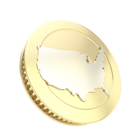 Golden coin isolated on white with usa country silver shape on reverse photo