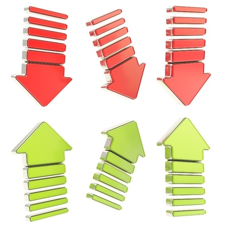 Group of red down and green up arrows with chrome metal edging in six foreshortenings isolated on white Stock Photo - 15100962